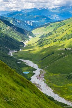 Beautiful landscape with a river and a small blue lake in Caucasus mountains Beautiful Scenery, Beautiful Landscapes, Caucasus Mountains, Us Road Trip, World Geography, Mountain Landscape, Nature Wallpaper, Amazing Nature, Messages