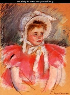 Simone In White Bonnet Seated With Clasped Hands - Mary Cassatt
