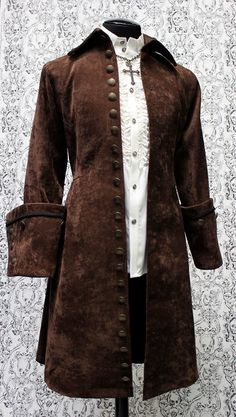 GALLEON PIRATE COAT - DARK BROWN VELVET