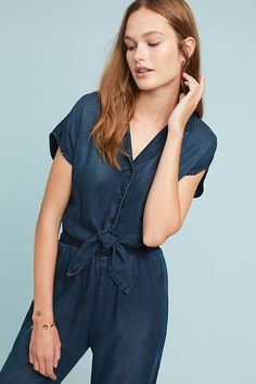 ace3690ed24 Cloth   Stone Belted Chambray Jumpsuit