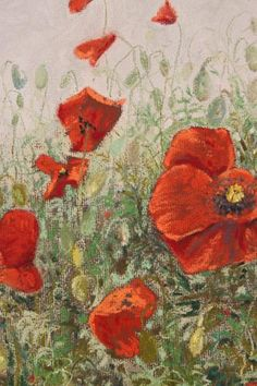 A chalk pastel of some wild poppies thriving on a gravel path. Part of the Garden Life Collection by Judith Cullivan.