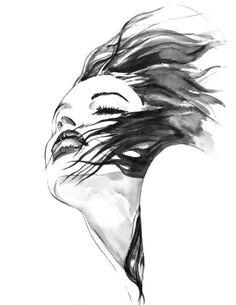 "Fashion Illustration Black and White Print Watercolor , Art Print, Portrait Painting Wall Decor 8.5"" x 11"""