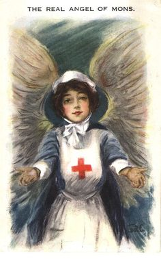 "A White female Red Cross nurse with wings gazing at the viewer with arms open. ""The real Angel of Mons, ca 1915"