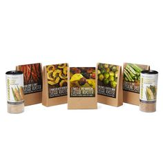 VERY VEGGIE SPICE COLLECTIONThe collection includes:  Balsamic & Roasted Onion  Sweet & Spicy Moroccan  Asian Curry & Honey  Parmesan Mediterranean Veggie Roasters  Chipotle Parmesan  Chili Lime Corn Cob Shakers  Sweet & Tangy Pickling Spice