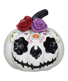 Loving this White & Black Day of the Dead Pumpkin on #zulily! #zulilyfinds