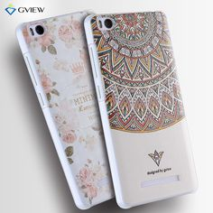 For xiaomi mi4i mi4c Case Luxury Transparent Hard Plastic 3D Relief Print Back Flip Cover Case Hot New Style