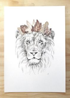 Lion art print - Animal art print of lion and crown  Contemporary art print by Millie featuring a pencil and watercolor drawing of the proud