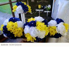 17 Piece Royal Blue Yellow White Rose Wedding Bouquet Silk Flower Set, White Blue Bouquet Yellow Bri White Rose Bouquet, White Roses Wedding, Wedding Blue, Rose Wedding Bouquet, Blue Bouquet, Trendy Wedding, Wedding Wall, Wedding Flowers, Bridal Bouquets