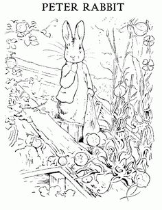 Beatrix Potter: Peter Rabbit Coloring Sheet Make your world more colorful with free printable coloring pages from italks. Our free coloring pages for adults and kids. Peter Rabbit Party, Peter Rabbit Birthday, Beatrix Potter, Easter Colouring, Coloring Pages For Kids, Coloring Book Pages, Coloring Sheets, Rabbit Colors, Peter Rabbit And Friends