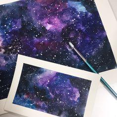"Galaxy created with watercolour. 12x8"" on Winsor and Newton watercolour paper // Melissa Malice, Artist. #watercolour #art #galaxy #nebula"