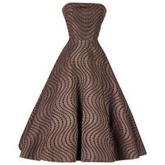 1950's Emma Domb Chocolate Eyelet Cocktail Dress