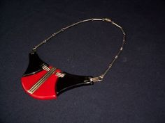 1930's German, Black and Red Galalith (Bakalite) Necklace by JAKOB BENGEL