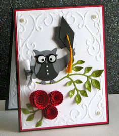graduation card: owl punch dressed as a grad...too cute!!!...Stampin' Up!