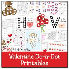 Free Valentine Do-a-Dot Printables for #ValentinesDay to work on one-to-one correspondence, letter recognition, number recognition, counting, shapes, and more! - Gift of Curiosity