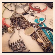 love this jewelry pile. @Who What Wear