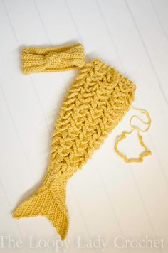 Glittering Gold Newborn Mermaid Outfit by theloopyladycrochet