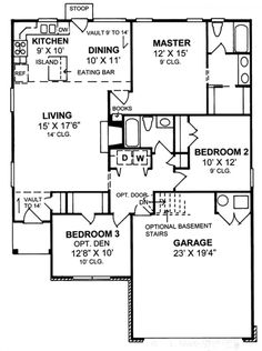 #655800 - 1 story traditional 3 bedroom 2 bath plan : House Plans, Floor Plans…