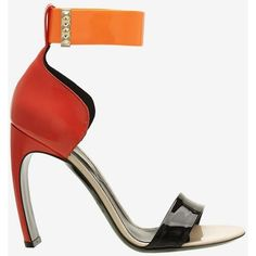 Nicholas Kirkwood Colorblock Patent Leather Bowed Heel Sandal found on Polyvore featuring polyvore, fashion, shoes, sandals, heels, multi, high heel sandals, studded sandals, ankle wrap sandals and block heel sandals