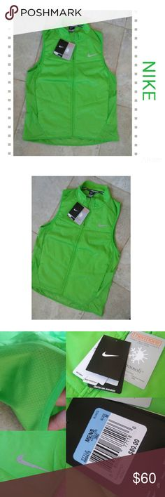{Nike} green polyfill running vest Size medium New with tags! Nike Green Running vest Size medium -Water-resistant, windproof fabric helps block out the elements -Quilted panels with Thermore fill for lightweight insulation -Mesh panels enhance ventilation -Sleeveless design and stretch trim for range of motion -Packable -Zip pockets  MSRP $80 Nike Jackets & Coats Vests