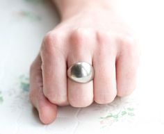 Minimalist Dome Ring  Sterling Silver Chunky Signet by Meanglean