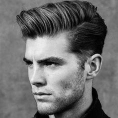 mens dark side part pompadour hairstyle haircut