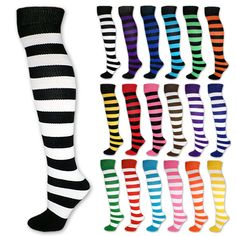 Knee High Striped Tube Socks Women Ladies Black White Stripe Clown School Team #stripedsocks #teamsocks #stripesocks