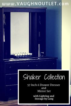 Shaker Collection - 57 inch 6 Drawer Dresser and Mirror Set with Lighting and Storage by Lang