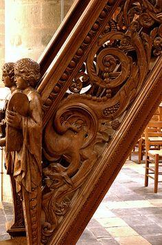 Lier, Vlaanderen, Sint-Gummaruskerk, stairs to pulpit