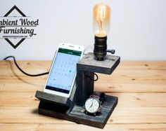Wood Utility Storage Lamp With Pipe Stand With by AmbientWood