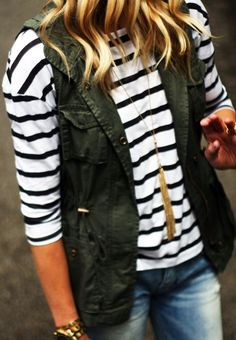 Fall vest and a tassel necklace. This look is perfection!
