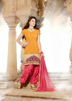 USD 32.09 Yellow Cotton Party Wear Punjabi Salwar Kameez  32234