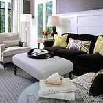 living rooms - chocolate brown grasscloth wallpaper yellow ikat pillows chocolate brown double gourd lamps yellow garden stool gray Greek key rug ivory chair black piping black faux croc tray Suzanne Kasler Quatrefoil Floor Lamp French Key End Table