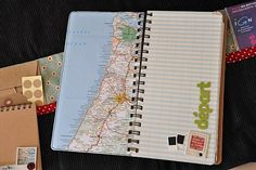 Concept page for scrapbook... crop map to show each day's travel; highlight route if drove anywhere