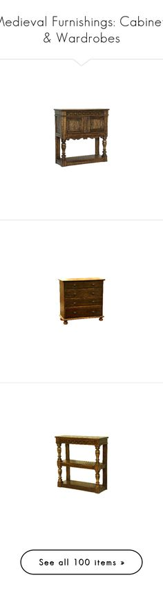 """""""Medieval Furnishings: Cabinets & Wardrobes"""" by savagedamsel ❤ liked on Polyvore featuring furniture, home, storage & shelves, dressers, ash furniture, ashwood furniture, ash wood furniture, burl furniture, log wood furniture and timber furniture"""