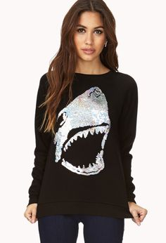 Shark Attack Sequined Sweatshirt | FOREVER21 When sequins attack #Sweatshirt #Sweater #Graphic #Shark #Metallic