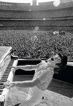 Elton John at Dodger Stadium, 1975 by Terry O'Neill
