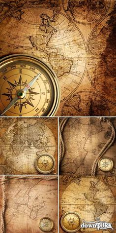 Vintage Compass | Vintage compass and map (a set of backgrounds HQ)love the vintage look