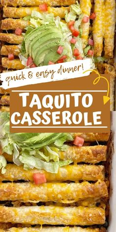 Frozen beef taquitos are a fun twist to this easy and quick Taquito Casserole. This easy casserole requires no chopping, no pre-cooking and only a couple minutes prep. So great for a busy weeknight. Serve with your favorite taco toppings for a yummy, kid-approved, and fun dinner! Easy Family Meals, Quick Easy Meals, Slow Cooker Recipes, Cooking Recipes, Dinner Casserole Recipes, Happy Foods, Beef Taquitos, Frozen Beef, Mexican Food Recipes