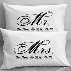 Mr and Mrs  Pillowcases - Custom Personalized - Wife Husband Wedding, Anniversary, Newlywed gifts for a Couple on Etsy, $25.00