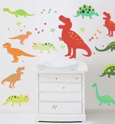 Dinosaurio divertido Wall Decals (no vinilo) - medio, Jillian Phillips