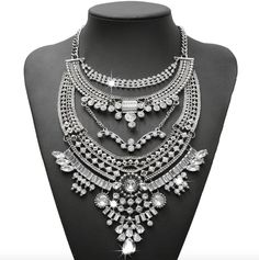 """- silver tone statement necklace, - clear """"crystals"""" - very popular design, - featured by many bloggers."""