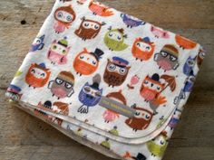 Extra Large Owls in Hats Flannel Baby Receiving by yeSweetheart