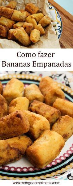 Bananas Empanadas 12 bananas - usei farinha de trigo, farinha de rosca sal, pimenta do reino a gosto Preparo Corte as bananas em pedaços grandes e reserve. Em um prato coloque farinha de trigo, em uma tijela coloque água e em outro prato, coloque a farinha de rosca. Passe a banana na farinha de trigo, depois mergulhe na água e finalize o empanado na farinha de rosca. Em uma panela com bastante óleo quente, coloque as bananas para fritar. Só retire as Bananas E douradas