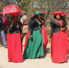 Herero ladies in their Victorian dresses at the annual Herero Day celebrations in Okahandja