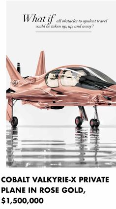 For the Billionaire only, a great Christmas gift. A Rose Gold plane for 1.5 million $ US Great stocking stuffer for the Billionaire's stocking!! Purchase at Neiman Marcus. @aluxurylifestyle pintetest.com/Luxurydotcom