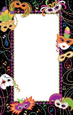 INNBYDING TIL KARNEVAL Mardi Gras Invitation Template   Mardi Gras Madness Invitation - Blank