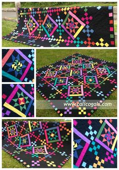 bright, colorful quilt Old Friends quilt