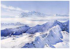 """Alps, Switzerland"" By Wiktor Mielniczuk-Watercolors, architect, watercolorist, illustrator, designer. watercolor; 50 x 70 cm https://www.facebook.com/pages/Wiktor-Mielniczuk-Watercolors/1382421271980473 http://www.wiktor-mielniczuk.com/"