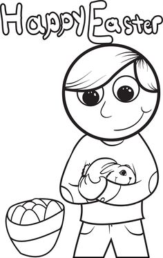 Boy Holding A Rabbit Easter Coloring Page 1