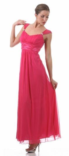 Long Fuchsia Semi Formal Dress Chiffon Flowy Wide Strap Empire Waist $105.99
